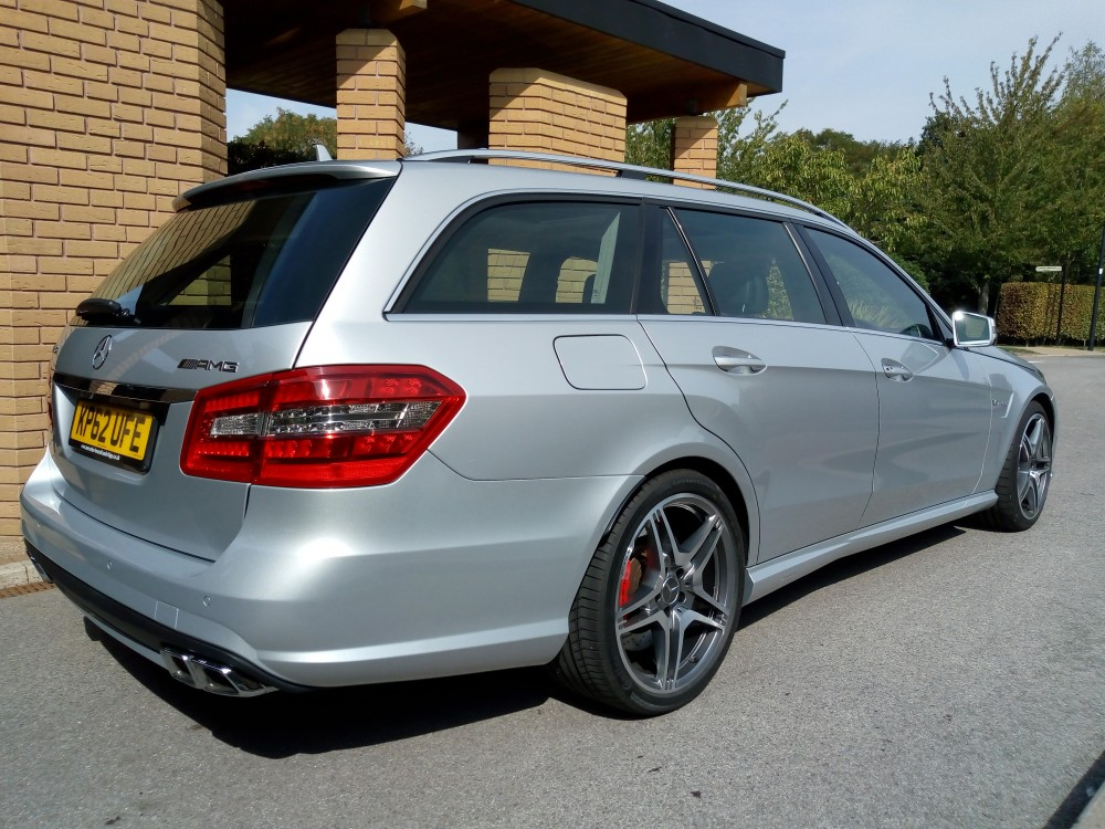 Image of our Mercedes-Benz Silver funeral vehicle from the rear.